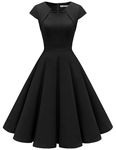 HomRain Damen 50er Vintage Retro Kleid Party Kurzarm Rockabilly Cocktail Abendkleider Black 2XL
