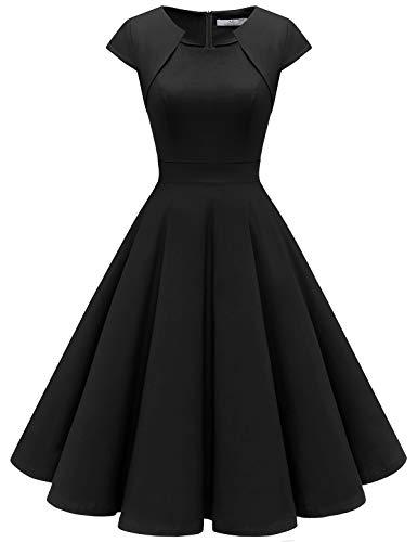 A-linie Lange Ärmel (HomRain Damen 50er Vintage Retro Kleid Party Kurzarm Rockabilly Cocktail Abendkleider Black S)