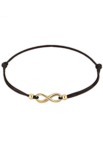 *Elli Damen Schmuck Echtschmuck Armband Strangarmband Infinity Textil-Armband Blogger Sterling Silber 925 Vergoldet Länge 17 cm*