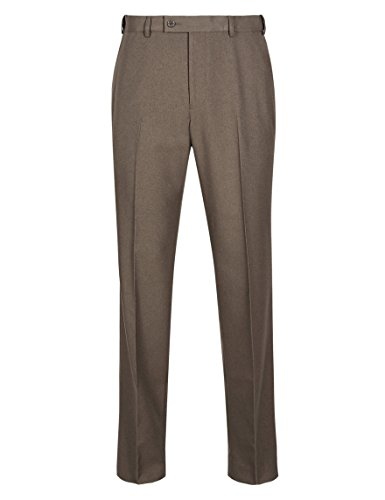 bnwt-marks-and-spencer-marrone-attivo-vita-resistente-alle-pieghe-3853-morbida-flat-front-pantaloni-