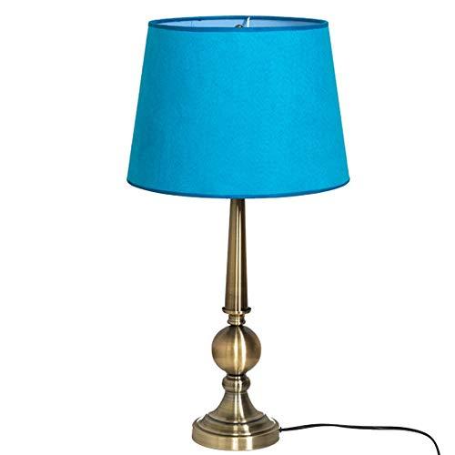 RXM Retro Tischlampen Plating Kreative mediterrane Stoff Schatten Lampshade Wohnzimmer Study Schlafzimmer Nachttischlampen 25.6x10.6x9.4in (Color : Light blue)