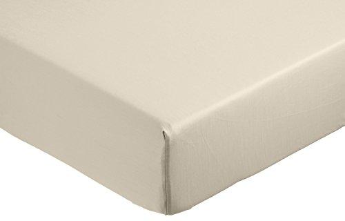 AmazonBasics 400TC Cotton Sateen Wrinkle Free Fitted Sheet Beige