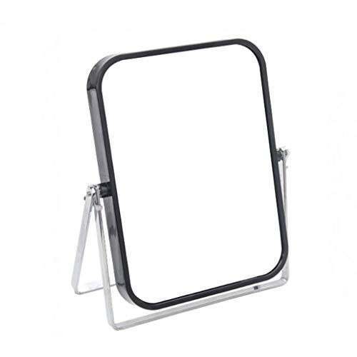 MeiMei Portable Desktop Mirror Schminkspiegel Studentenwohnheim Princess Mirror Desk Mini Doppelspiegel (Color : Black)