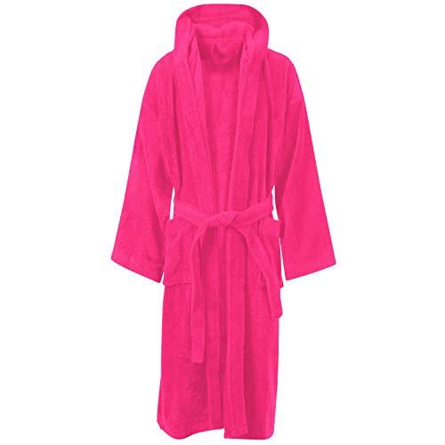 Small / Medium, Fuchsia / Hooded - Unisex 100% Luxury Egyptian Cotton Super Soft Velour Towelling...
