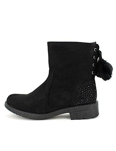Cendriyon Bottines Noires Paillettes CINKS Lo Chaussures Femme Noir