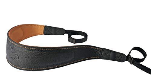 EDDYCAM 8619 60mm Leder Kameragurt; Lederkameragurt; Elchlederkameragurt, Schwarz/Natur/Kontrastnaht, 60 mm