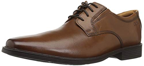 Clarks tilden plain scarpe stringate derby uomo, marrone (dark tan lea), 44.5