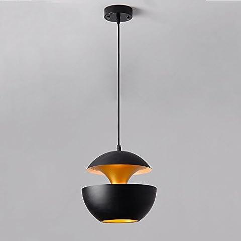 European style Aluminum chandelier Creative Ceiling light Single head Hanging lamp Especially for home / restaurant / café / bar Lighting decoration ( Color : Black