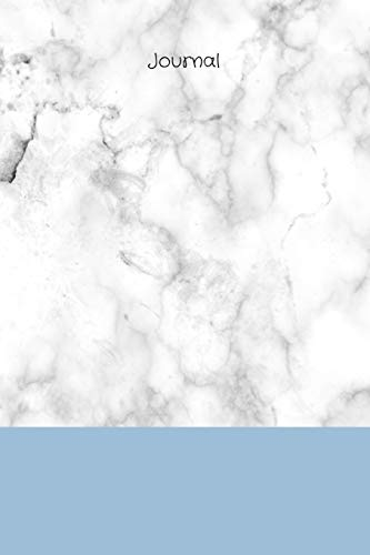 Journal: White/grey marble background with blue band and black title, 200 page (100 sheet) 6