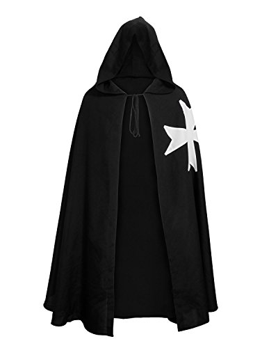 Nofonda Halloween Mittelalter Ritter Umhang Kostüm Robe Krankenhauser Tunika Umhang Cape mit Malteserkreuz
