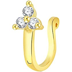 V. K. Jewels Gold Plated Alloy CZ American Diamond Pressing Nose Ring/Nose Pin For Women's - [VKNR1032G]