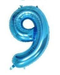 SiDeSo® 1 Folienballon XXL BLAU Heliumgeeignet Party Geburtstag Jahrestag Hochzeitstag Jubiläum (Zahl 9)