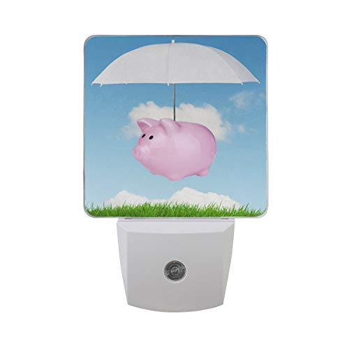 DFISKK Nachtlicht Set of 2 Pink Piggy Bank Flying Pig Over Green Grass with Umbrella in Blue Sky White Cloud Auto Sensor LED Dusk to Dawn Night Light Plug in Indoor for Adults