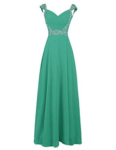 Fanciest Women's Cap Sleeve Beaded Chiffon Bridesmaid Dresses Long Prom Gowns Green