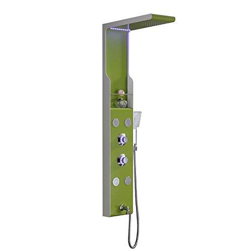 Luxurious shower Edelstahl Wand Dusche Panel 4 Funktion Wasserfall Niederschlag Massagedüsen Dusche mit Griff Dusche mit LED, Grün, China - Green Panel Filter