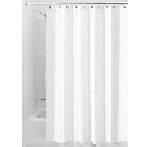 iDesign Duschvorhang aus Stoff, waschbarer Badewannenvorhang aus Polyester in der Größe 180,0 cm x 200,0 cm, wasserdichter Vorhang mit verstärktem Saum, weiß Polyester-textil
