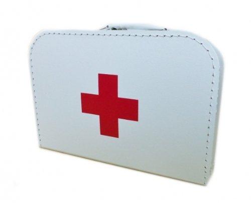 Unbekannt Arztkoffer aus Pappe, weiß mit rotem Kreuz, 30 cm