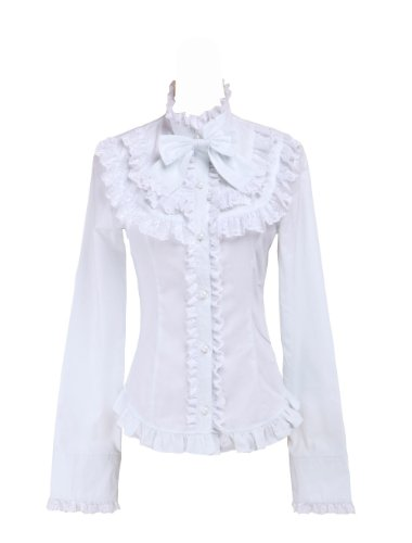 Blanca Algodón Volantes Encaje Bow Kawaii Victoriana Lolita Camisa Blusa de Mujer,XXL