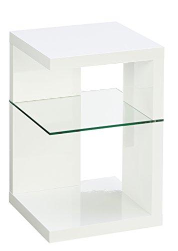 HomeTrends4You 516250 Beistelltisch / Nachttisch Domingo, Weiß Hochglanz, 40x40cm, Höhe 60cm -