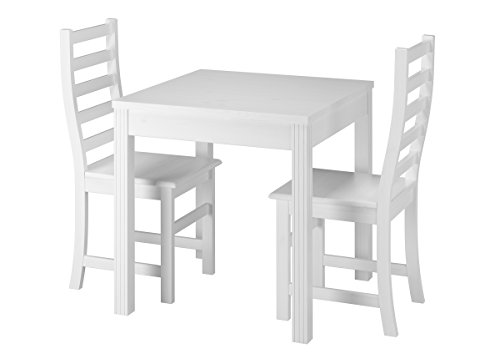 Erst-Holz® Essecke mit Tisch und 2 Stühle Kiefer Massivholz waschweiß 90.70-50 C W-Set 21