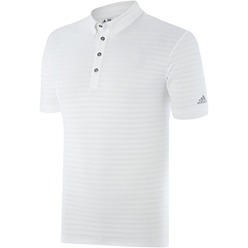 Herren Climacool Polo Golf Shirts (adidas Golf 2015 Herren Climacool Travel Elements Streifen Polo Shirt Stretch Tech Gr. S, Weiß - Weiß)