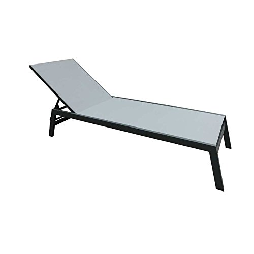 OUTLIV. Premium Sonnenliege Alu-Liege CRES Gartenliege Verstellbar Aluminium/Textil Anthrazit/Silber...