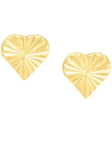 MyGold Herz Ohrstecker Stecker Ohrringe Gelbgold 333 Gold (8 Karat) Ø 4,5mm Mini Diamantiert Herzchen Herzform Taufe Taufgeschenk Kommunion Goldohrringe Geschenke Für Mädchen Babies Sweetness V0012504