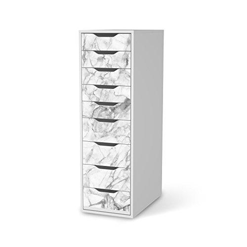 Klebetapete Folie Aufkleber für IKEA Alex Schreibtisch-9 Schubladen I Möbel folieren Sticker Möbel Möbelfolie I kreativ einrichten Wohnzimmer-Möbel Deko Artikel I Design Motiv Marmor weiß -
