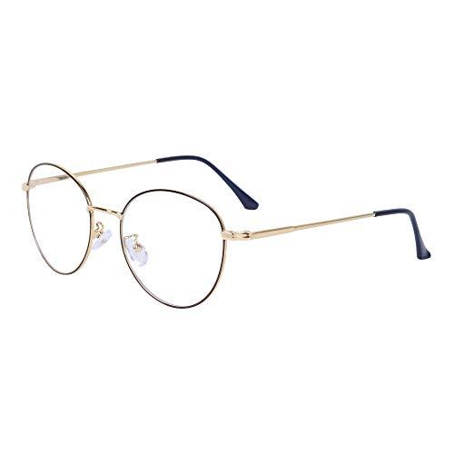 Computerbrille Anti-Blaulicht Ohne Stärke Anti-Müdigkeit UV-Schutz Retro Rund Metallgestell Brillenfassung mit Brillenetuis