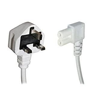 White 5m Mains Power Cable / Lead by electrosmart® ~ 3 Pin Moulded UK Plug to Right Angled IEC C7 Figure 8