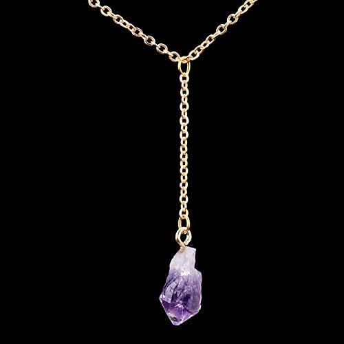 gelmäßigeQuaste Anhänger Halskette Gold/Silber Farbe Lila Gelb Kristall Roh Naturstein Halsketten ()