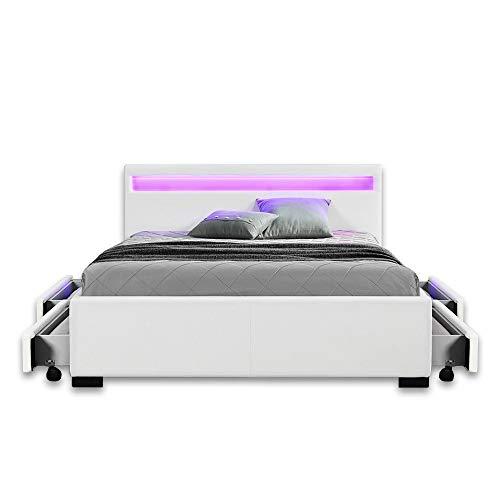 Home Deluxe - LED Bett mit Schubladen - Nube weiß - 180 x 200 cm - Verschiedene Größen
