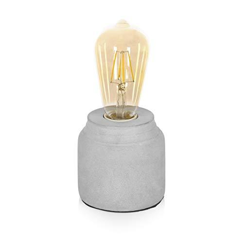 Smartwares Tischleuchte aus Beton, Lampenfuß für E27 Leuchtmittel, Grau, 9,5 x 9,5 x 10 cm