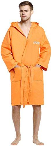 Cressi sport bathrobe, accappatoio sportivo in microfibra donna, arancio, xl