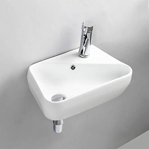 Gimify Lavabo da Parete Lavello Piccolo da Bagno   Appendere al Muro   Ceramica Bianco 45x27.5x15cm   Senza Rubinetto