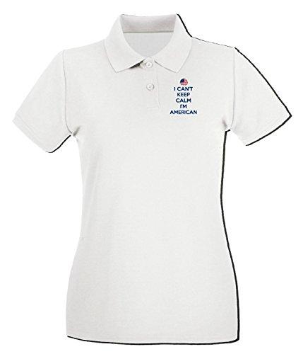 T-Shirtshock - Polo pour femme WC0620 USA Can t Keep Calm Im American Soccer Football Fan T Shirt Blanc