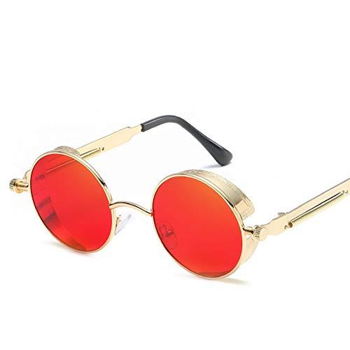 GJYANJING Sonnenbrille Runde Metall Sonnenbrille Männer Frauen Mode Brillen Marke Designer Retro Vintage Sonnenbrille Uv400