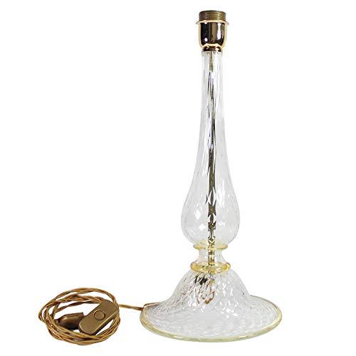 Tischlampe aus Muranoglas in transparentem Kristall-Typ und bernstein-Finish -