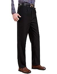 BOZEVON Pantalones de Traje de Hombre - Pantalones Formales de Negocios Rectos Ajustados Delgado/Flojos para Primavera y Verano