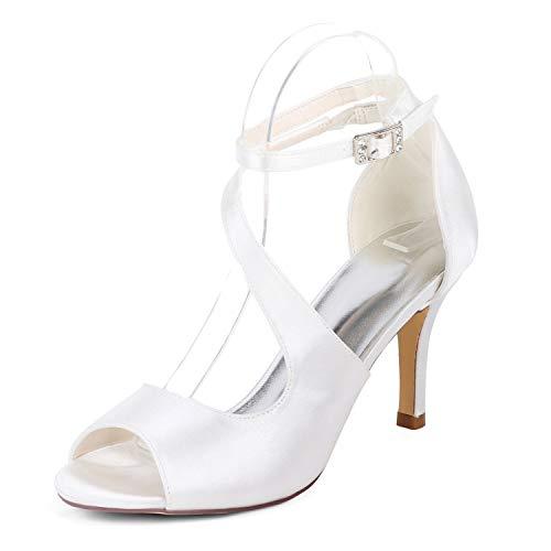 L@yc donne scarpe da sposa punta bassa 35-42 tacchi alti punta tonda sposa fiore avorio/tacco 6 cm, white, 41