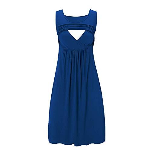 Lurcardo Stillkeid Umstandskleid Ärmellos Streifen Stillkleid Schwangerschafts Kleid Mode Rundhals Still-Nachthemd Stillen Kleid Umstandsmode Frauen Damen Kleid Sommer Damen Kleider Nachthemd Kleider (Einfach Schwanger Kostüm)