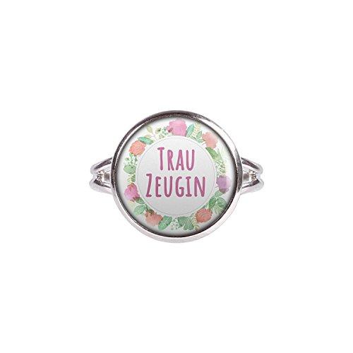 Mylery Ring mit Motiv Trau-Zeugin Blumen-Kranz silber 14mm