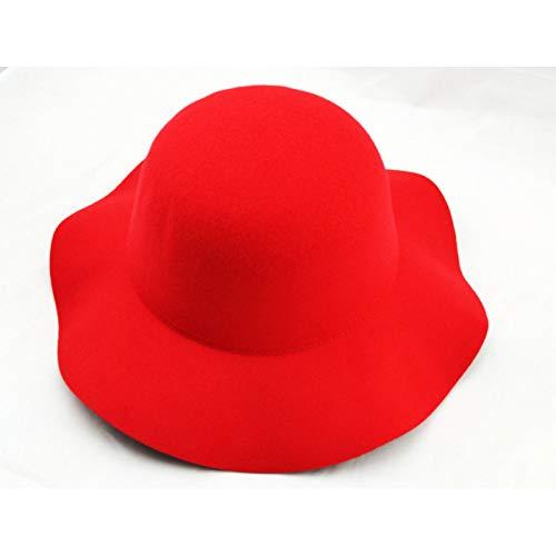 LQMGLP Winter Reiner Filz Bowler Hut Kuppel Eimer Hut Für Frauen Britischen Stil Kirche Vintage Bucket Cap (Red Bowler Hut Kostüm)
