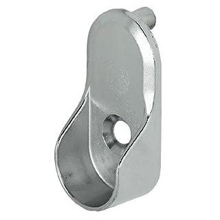 Schrankrohr oval Ende unterstützt Schiene Klammern 15mm breit vernickelt silber x2