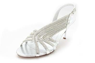 F10669Sl - Chaussures de mariage - bride arrière - talon haut - femme - UK8 EU41