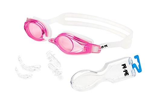 PI-PE Active Schwimmbrille mit Antibeschlag- und UV-Schutz - inklusive 1 Paar Ohrstöpsel - schwarz (Pink)