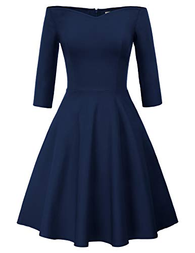 GRACE KARIN Robe Moulante Style A-Ligne Femme de Business Bleu Marin XL CL823-3