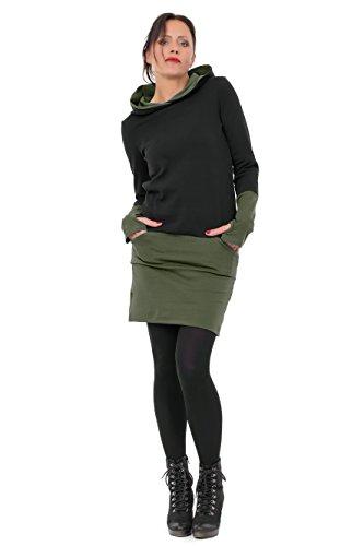 3Elfen Kapuzen Winter Baumwolle Kleid Hoodie Damen Mädchen Mini Rock Stulpen Daumenloch schwarz Oliv S