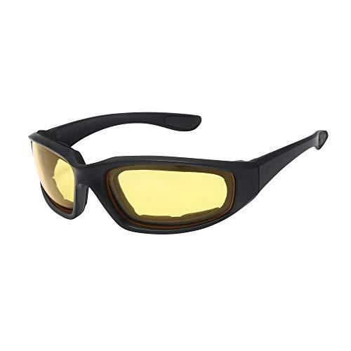 ASVP Shop Motorrad Rundum mit Schaumstoff gepolstert Gläser mit Schaumstoff Futter und Gelb getönt Objektiv