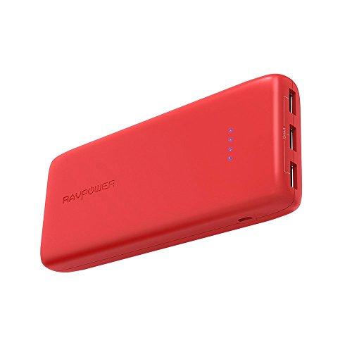 RAVPower Batteria Esterna 22000mAh Power Bank Caricabatterie Portatile con 3 Porte USB iSmart 2.0 (5.8A di Uscita / 2.4A Max per Porta, Ingresso da 2.4A) per iPhone, iPad, Smartphone ECC (Rosso)